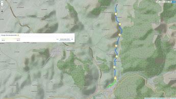 Übersichtskarte - Wanderung mit Kilometerpunkten von El Bosque aus (c) Google Maps, Runtastic