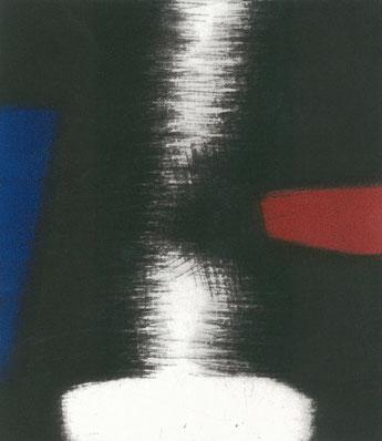 Eliana Bürgin | Schallplatte, Mezzotinto, Druck von zwei Kupferplatten in Blau/Rot und Schwarz. Platte 9 x 10,5 cm, Blattgrösse 19,5 x 28 cm. Auflage: Vier Exemplare auf Bütten Papier.