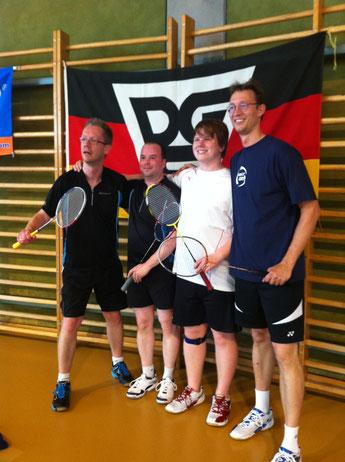 Berlin Badminton Gehörlosen Deutsche Meisterschaft Deutsches Sportfest 2012 Siegerehrung Oliver Witte Matthias Kroll Jens Bischoff Herrendoppel DGS