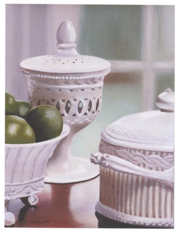 """Milk Glass With Limes"""