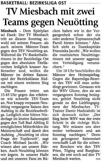 Artikel im Miesbacher Merkur am 18.10.2014 - Zum Vergrößern Klicken