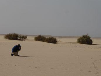 Un homme, genoux à terre, dans le désert, réalisant un cliché de paysage.