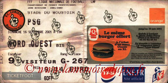 Tickets  Lorient-PSG  2001-02