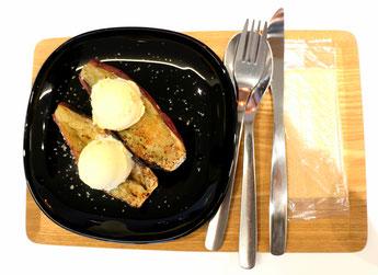 焼き芋とバニラアイスのデザート