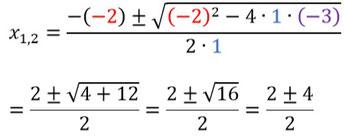 Beispiel für das Einsetzen von Zahlen in die Mitternachtsformel und ihre Berechnung