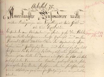 Abschrift des Artikels 75 Amerikanische Auswanderer, Gemeinde Schwanden, Pulverturm