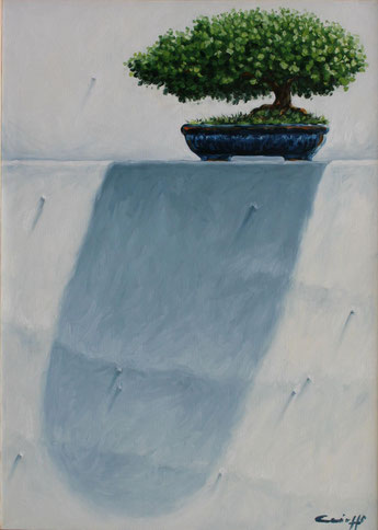 PEPPE CAIOZZO.Gnomone, il bonsai  acrilic on canvas