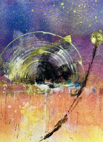 Arco di luce, 2018, tecnica mista, 10 x 13 cm