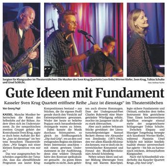 Sven Krug Quartett: Bericht der HNA über das Konzert im Theaterstübchen, Kassel, September 2018
