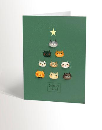 Valérie boivin illustration, carte, chat, cadeau, éducatrice, enseignant