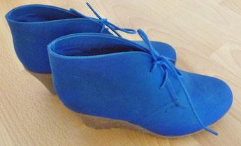 Keil-Stiefeletten blau Gr. 36 Wedges