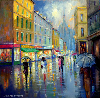 Milan glimpse oil by Giuseppe Faraone