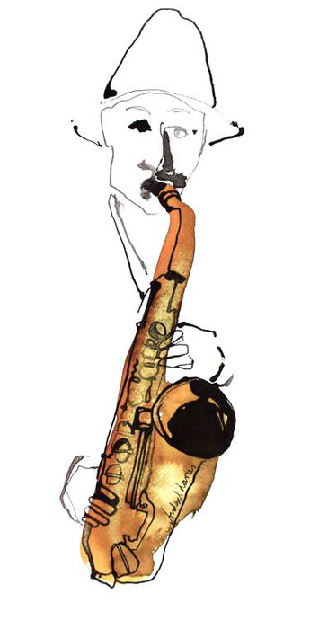 jazz sax saxophonist graphic sketch
