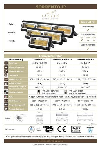 Datenblatt TANSUN Sorrento Terrassen Infrarotheizung
