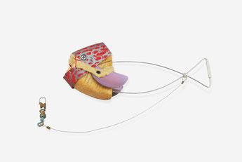 """ANONYMUS FISH 1"" 2017  aluminium,titanium,silver,balsa wood,suede, swivel snap for fishing"