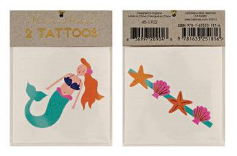 2 tatouages Sirène et coquillages Meri Meri