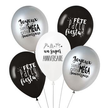deco anniversaire garçon theme blanc noir argent