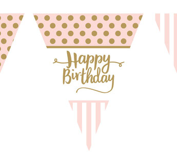 guirlande rose et or deco happy birthday- pink and gold garland