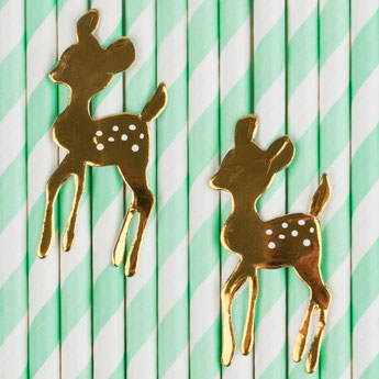 pailles thème faon doré deco baby shower bapteme anniversaire- fawn paper straw party birthday decoration