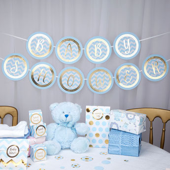 DECO BABY SHOWER BLEU ET OR - GOLD AND PASTEL BLUE BABY SHOWER DECORATION