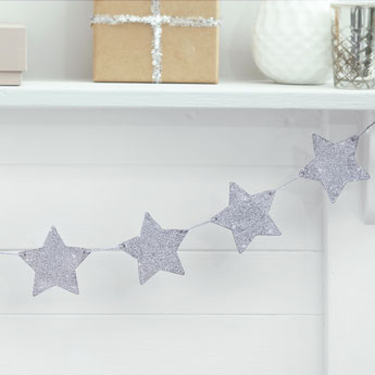 PAILLES ETOILES ARGENTS DECO ANNIVERSAIRE- SILVER STARS PAPER STRAWS PARTY DECORATION