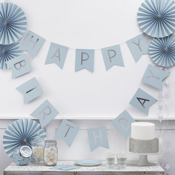 DECO ANNIVERSAIRE GARCON THEME BLEU ARGENT - BOY PARTY DECORATION