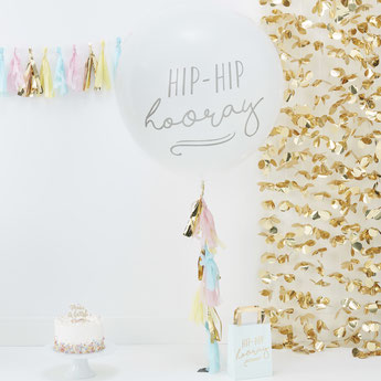 ballon géant hip hip hooray avec tassel pastel - deco fête pastel - pastel party balloon