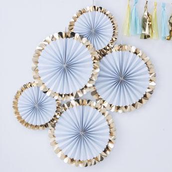 anniversaire-bleu-or-decoration-rosaces