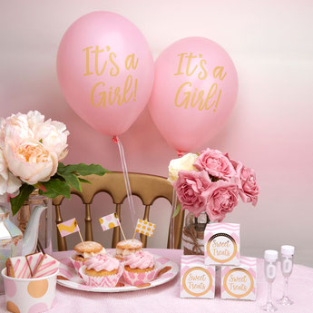 BALLONS ROSES DECORATION BABY SHOWER-  GIRL BABY SHOWER DECORATION BALLOONS