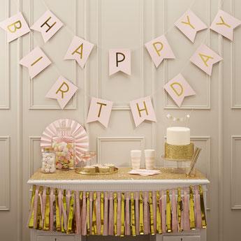 guirlande pastel rose et or deco anniversaire fille