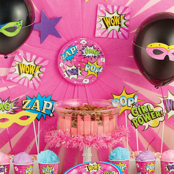 DECORATION ANNIVERSAIRE SUPER HEROS FILLE- GIRL SUPERHERO PARTY DECORATION