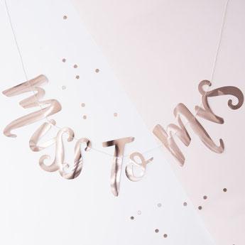 """guirlande pour evjf """"Miss to Mrs"""" écriture rose gold- bachelor garland"""