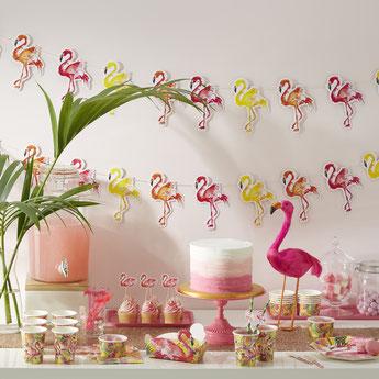 DECORATION ANNIVERSAIRE TROPICAL, FLAMANT ROSE- TROPICAL FLAMINGO PINK PARTY BIRTHDAY DECORATION