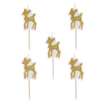 bougies faon doré deco premier anniversaire, anniversaire gold fawn candle party decoration