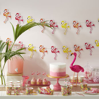 DECORATION ANNIVERSAIRE FILLE FLAMANT ROSE FETE TROPICALE- PINK FLAMINGO AND TROPICAL PARTY