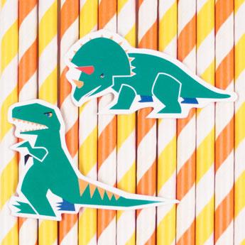 12 pailles dinosaures avec rayures deco anniversaire dinosaures