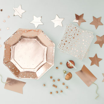 DECO BABY SHOWER BAPTEME ANNIVERSAIRE ROSE GOLD - ROSE GOLD PARTY DECORATION