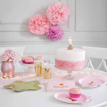 DECORATION ANNIVERSAIRE ROSE ET OR - PINK AND GOLD PARTY BIRTHDAY DECORATION
