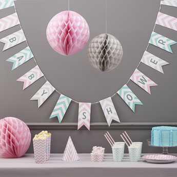 BABY SHOWER PASTEL CHEVRON- DECO BABY SHOWER FILLE- PASTEL BABY SHOWER GIRL DECORATION