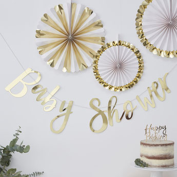 Guirlande Baby Shower dorée - déco baby shower fille ou garçon - baby shower party decoration