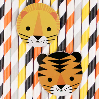 pailles animaux de la jungle deco baby shower bapteme anniversaire jungle, savane, safari