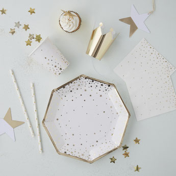 DECORATION DE TABLE NOEL NOUVEL AN BLANC OR - CHRISTMAS NEW YEAR PARTY DECORATION WHITE AND GOLD