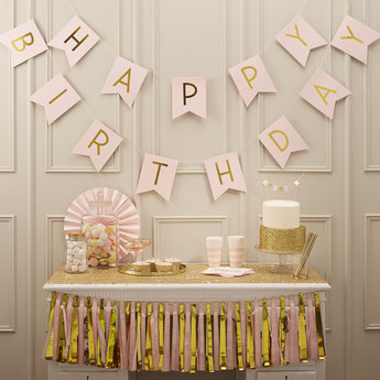 DECORATION ANNIVERSAIRE PASTEL ROSE ET OR - PINK AND GOLD PARTY BIRTHDAY DECORATION