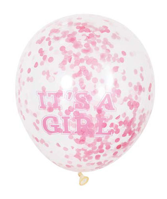 ballons confettis baby shower fille- it's a girl confettis balloons