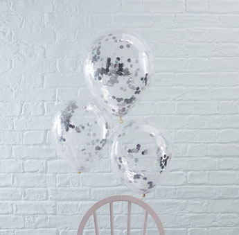 BALLONS TRANSPARENTS AVEC CONFETTIS ARGENTS DECO FETE ANNIVERSAIRE- SILVER CONFETTIS BALLOONS PARTY DECORATION