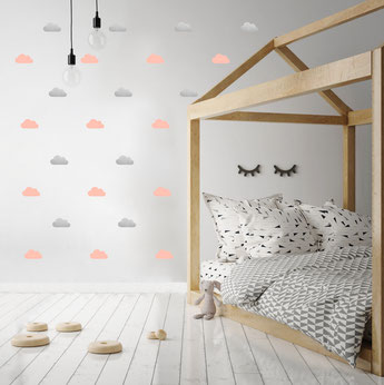 STICKERS NUAGES DECORATION CHAMBRE BEBE- CLOUDS STICKERS BABY ROOM DECORATION