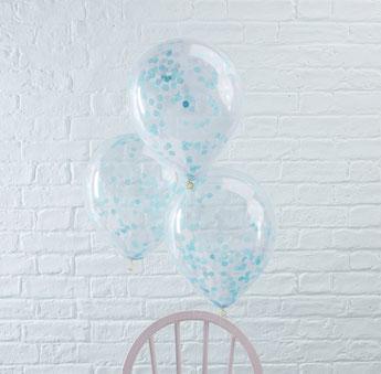 BALLONS TRANSPARENTS AVEC CONFETTIS BLEUS DECO FETE ANNIVERSAIRE- BLUE CONFETTIS BALLOONS PARTY DECORATION