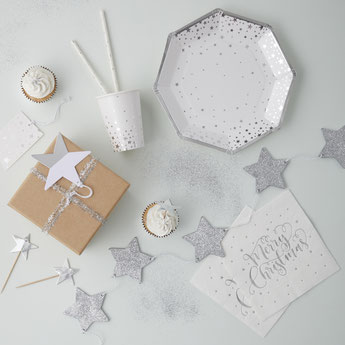 DECORATION NOEL NOUVEL AN BLANC ARGENT- CHRISTMAS AND NEW YEAR PARTY DECORATION SILVER AND WHITE