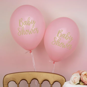 BALLONS ROSES ET DORES BABY SHOWER- PINK AND GOLD BABY SHOWER BALLOONS