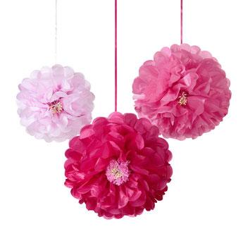 3 POMPONS FLEURS ROSES EN PAPIER DE SOIE DECO ANNIVERSAIRE- PINK FLOWER PARTY DECORATION